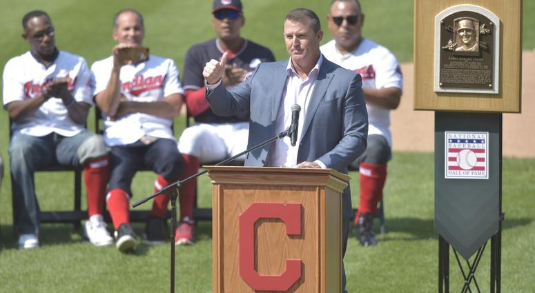 Aug 18, 2018; Cleveland, OH, USA; Former Cleveland Indians player Jim Thome speaks during his uniform number retirement ceremony at Progressive Field. Mandatory Credit: David Richard-USA TODAY Sports