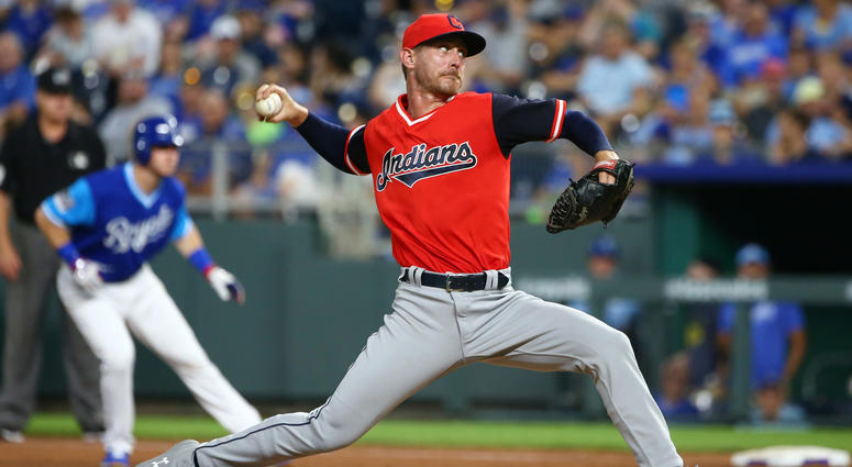 Aug 25, 2018; Kansas City, MO, USA; Cleveland Indians starting pitcher Josh Tomlin (43) pitches against the Kansas City Royals in the eighth inning at Kauffman Stadium.