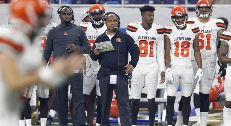 Cleveland Browns head coach Hue Jackson watches game action during the first quarter against the Detroit Lions at Ford Field.