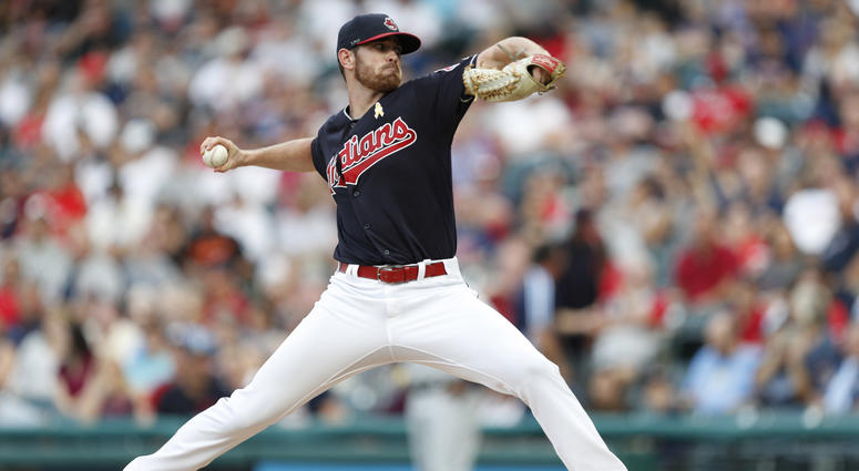 Sep 1, 2018; Cleveland, OH, USA; Cleveland Indians starting pitcher Shane Bieber (57) pitches the ball during the first inning against the Tampa Bay Rays at Progressive Field.
