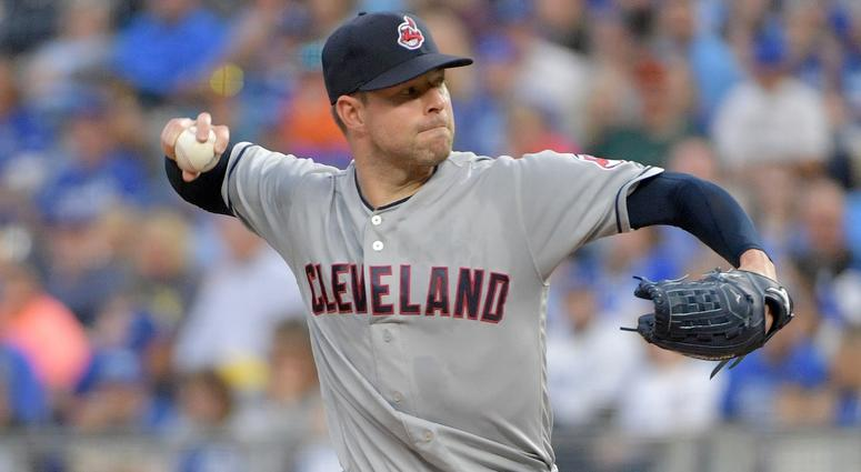 Sep 29, 2018; Kansas City, MO, USA; Cleveland Indians starting pitcher Corey Kluber (28) delivers a pitch in the first inning against the Kansas City Royals at Kauffman Stadium. Mandatory Credit: Denny Medley-USA TODAY Sports