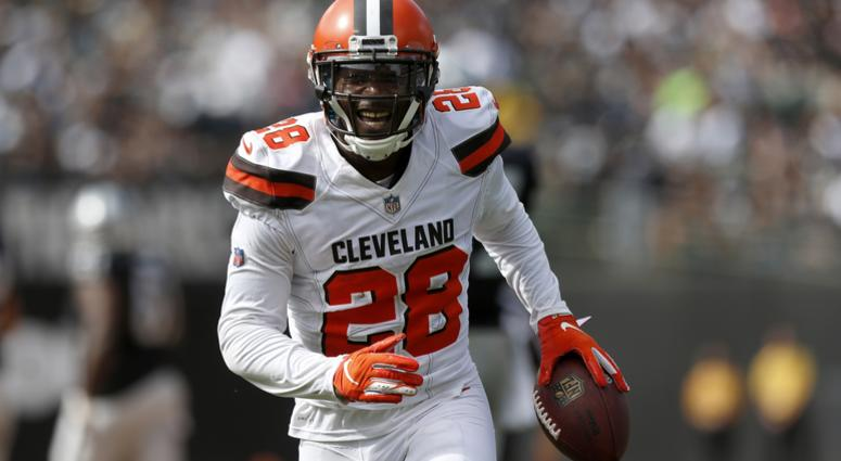 E.J. Gaines Cleveland Browns interception at Oakland Raiders