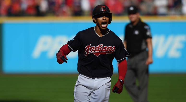 Oct 8, 2018; Cleveland, OH, USA; Cleveland Indians shortstop Francisco Lindor (12) celebrates a home run in the fifth inning against the Houston Astros during game three of the 2018 ALDS playoff baseball series at Progressive Field. Mandatory Credit: Ken