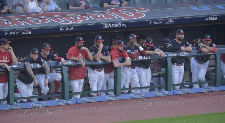 Oct 8, 2018; Cleveland, OH, USA; Cleveland Indians watch the game in the ninth inning against the Houston Astros during game three of the 2018 ALDS playoff baseball series at Progressive Field.