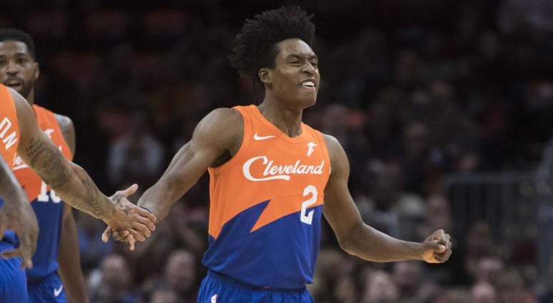 Cleveland Cavaliers guard Collin Sexton (2) celebrates a three-point shot during the first half against the Charlotte Hornets at Quicken Loans Arena.