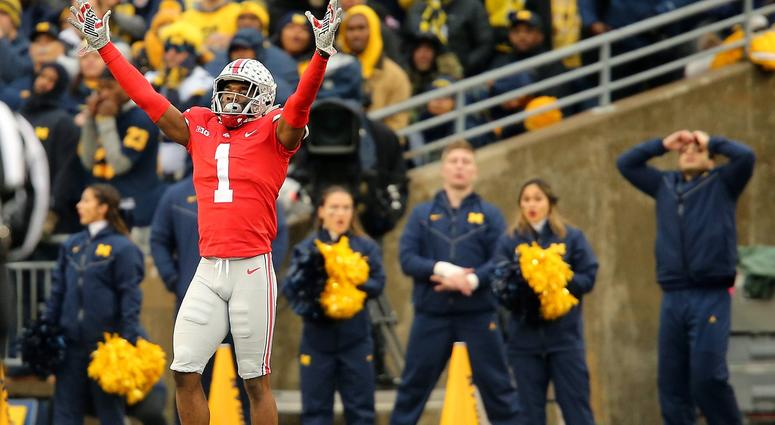 Ohio State Buckeyes cornerback Jeffrey Okudah (1) reacts during the second quarter against the Michigan Wolverines at Ohio Stadium.