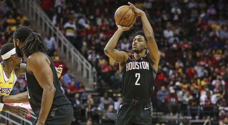 Dec 13, 2018; Houston, TX, USA; Houston Rockets guard Brandon Knight (2) shoots the ball during the first quarter against the Los Angeles Lakers at Toyota Center. Mandatory Credit: Troy Taormina-USA TODAY Sports