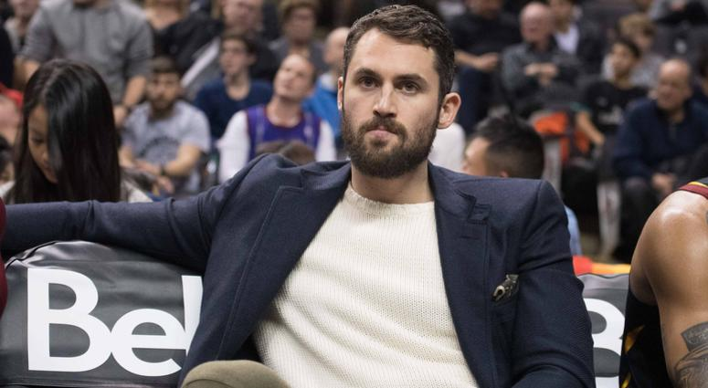 Dec 21, 2018; Toronto, Ontario, CAN; Cleveland Cavaliers forward Kevin Love (0) watches the game from the bench during the fourth quarter against the Toronto Raptors at Scotiabank Arena. Mandatory Credit: Nick Turchiaro-USA TODAY Sports