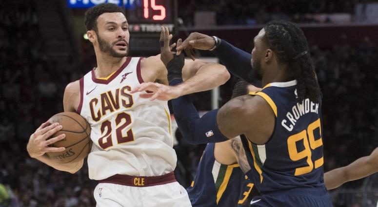Jan 4, 2019; Cleveland, OH, USA; Utah Jazz forward Jae Crowder (99) defends Cleveland Cavaliers forward Larry Nance Jr. (22) during the first half at Quicken Loans Arena. Mandatory Credit: Ken Blaze-USA TODAY Sports