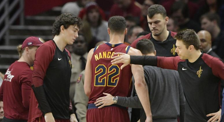 Jan 8, 2019; Cleveland, OH, USA; Cleveland Cavaliers forward Larry Nance Jr. (22) walks off the court after suffering an apparent injury in the first quarter against the Indiana Pacers at Quicken Loans Arena. Mandatory Credit: David Richard-USA TODAY Spor