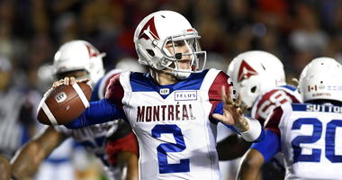 Johnny Manziel was placed under the Canadian Football League's concussion protocol Wednesday, Aug. 15, 2018. The Montreal Alouettes quarterback was hit at the goal line last weekend, leading to a fumble that a teammate recovered for a touchdown in a 24-17