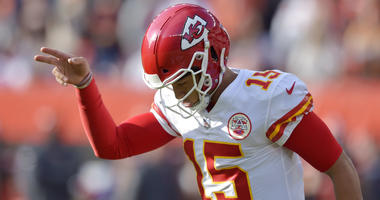 ansas City Chiefs quarterback Patrick Mahomes celebrates a 1-yard touchdown by running back Kareem Hunt during the first half of an NFL football game against the Cleveland Browns, Sunday, Nov. 4, 2018, in Cleveland. (AP Photo/David Richard)