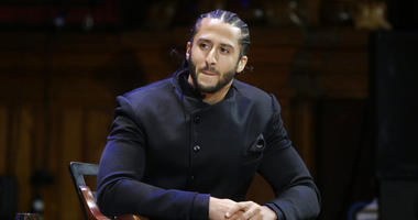 former NFL football quarterback Colin Kaepernick attends the W.E.B. Du Bois Medal ceremonies at Harvard University in Cambridge, Mass. Kaepernick was among eight recipients of Harvard University's W.E.B. Du Bois Medals in 2018