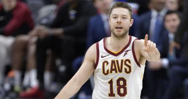 Dec 12, 2018; Cleveland, OH, USA; Cleveland Cavaliers guard Matthew Dellavedova (18) calls a play in the fourth quarter against the New York Knicks at Quicken Loans Arena. Mandatory Credit: David Richard-USA TODAY Sports
