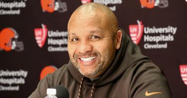 Browns head coach Hue Jackson speaks with reporters on April 17, 2018