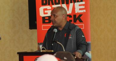 Browns head coach Hue Jackson speaks during breakfast at the 19th annual Cleveland Browns Foundation golf outing held at Westwood Country Club in Rocky River, OH