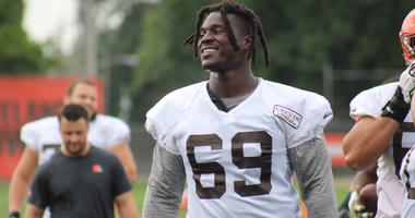 Browns left tackle Desmond Harrison warms up for a practice on Sept. 7, 2018