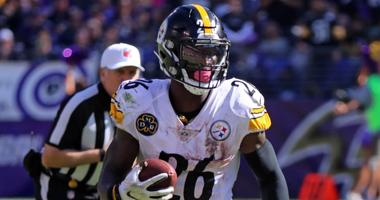 Pittsburgh Steelers running back LeVeon Bell (26) runs for a gain against the Baltimore Ravens at M&T Bank Stadium.