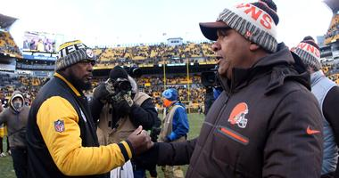 Pittsburgh Steelers head coach Mike Tomlin and Cleveland Browns head coach Hue Jackson