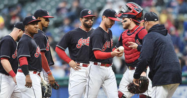 Apr 24, 2018; Cleveland, OH, USA; Cleveland Indians manager Terry Francona relieves starting pitcher Josh Tomlin (43) during the fourth inning against the Chicago Cubs at Progressive Field.