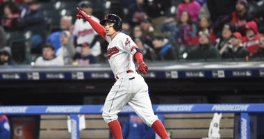 Apr 25, 2018; Cleveland, OH, USA; Cleveland Indians right fielder Brandon Guyer (6) watches his home run during the fifth inning against the Chicago Cubs at Progressive Field.