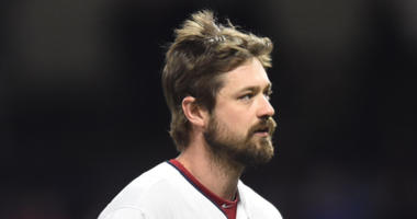 Apr 25, 2018; Cleveland, OH, USA; Cleveland Indians relief pitcher Andrew Miller (24) walks to the dugout after being inured during the seventh inning against the Chicago Cubs at Progressive Field.