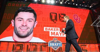 NFL commissioner commissioner Roger Goodell walks off stage as Baker Mayfield is selected as the number one overall pick to the Cleveland Browns in the first round of the 2018 NFL Draft at AT&T Stadium.