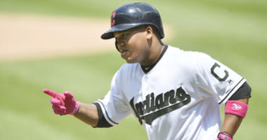 May 27, 2018; Cleveland, OH, USA; Cleveland Indians third baseman Jose Ramirez (11) celebrates his two-run home run in the first inning against the Houston Astros at Progressive Field.
