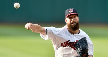 Jul 12, 2018; Cleveland, OH, USA; Cleveland Indians starting pitcher Corey Kluber (28) delivers in the first inning against the New York Yankees at Progressive Field.
