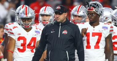 Ohio State Buckeyes wide receivers coach Zach Smith on the sidelines against the Clemson Tigers in the the 2016 CFP semifinal at University of Phoenix Stadium.
