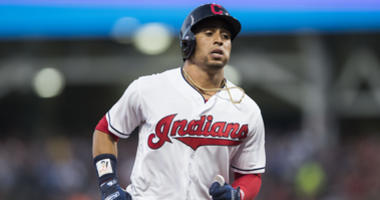 Aug 4, 2018; Cleveland, OH, USA; Cleveland Indians center fielder Leonys Martin (13) rounds the bases after hitting a home run during the sixth inning against the Los Angeles Angels at Progressive Field.