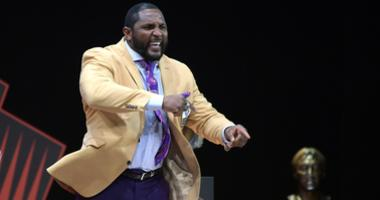 Baltimore Ravens former linebacker Ray Lewis during the Pro Football Hall of Fame Enshrinement Ceremony at Tom Bensen Stadium.