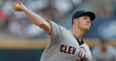 Aug 11, 2018; Chicago, IL, USA; Cleveland Indians starting pitcher Trevor Bauer (47) pitches against the Chicago White Sox during the first inning at Guaranteed Rate Field.