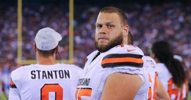 Cleveland Browns offensive tackle Joel Bitonio (75) looks on during the second half against the New York Giants at MetLife Stadium.