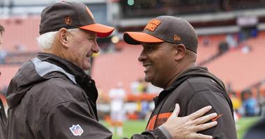 Jimmy Haslam and Hue Jackson of the Cleveland Browns