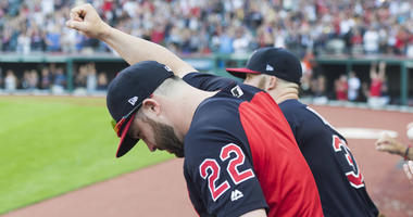 Sep 15, 2018; Cleveland, OH, USA; Cleveland Indians center fielder Jason Kipnis (22) pumps his fist as the Indians defeat the Detroit Tigers to clinch the American League Central Division at Progressive Field.