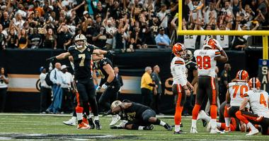 New Orleans Saints specialist Taysom Hill (7) reacts as Cleveland Browns place kicker Zane Gonzalez (2) misses a game tying field goal during the fourth quarter at the Mercedes-Benz Superdome