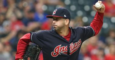 Sep 20, 2018; Cleveland, OH, USA; Cleveland Indians relief pitcher Oliver Perez (39) pitches against the Chicago White Sox during the sixth inning at Progressive Field. Mandatory Credit: Charles LeClaire-USA TODAY Sports