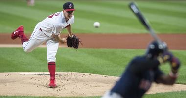 Cleveland Indians starting pitcher Trevor Bauer (47) throws a pitch to Boston Red Sox designated hitter J.D. Martinez (28) during the first inning at Progressive Field.