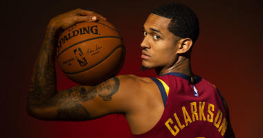 Sep 24, 2018; Cleveland, OH, USA; Cleveland Cavaliers guard Jordan Clarkson (8) poses during Cavs Media Day at Cleveland Clinic Courts.