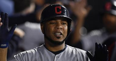 Sep 25, 2018; Chicago, IL, USA; Cleveland Indians first baseman Edwin Encarnacion (10) celebrates in the dugout with teammates in the third inning after scoring against the Chicago White Sox at Guaranteed Rate Field. Mandatory Credit: Quinn Harris-USA TOD