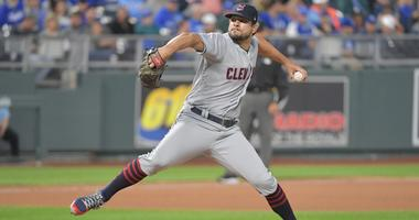 Sep 29, 2018; Kansas City, MO, USA; Cleveland Indians relief pitcher Brad Hand (33) delivers a pitch in the eighth inning against the Kansas City Royals at Kauffman Stadium. The Royals won 9-4.