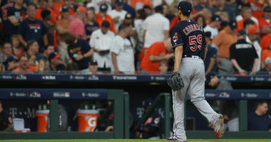 Oct 6, 2018; Houston, TX, USA; Cleveland Indians starting pitcher Carlos Carrasco (59) is pulled from the game during the sixth inning against the Houston Astros during game two of the 2018 ALDS playoff baseball series at Minute Maid Park
