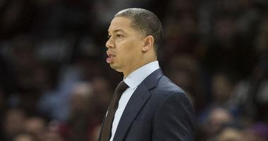 Cleveland Cavaliers head coach Tyronn Lue reacts to a call during the first half against the Indiana Pacers at Quicken Loans Arena.