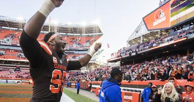 Myles Garrett Cleveland Browns celebrates win over Atlanta Falcons