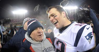 Jan 20, 2019; Kansas City, MO, USA; New England Patriots quarterback Tom Brady (12) celebrates with coach Bill Belichick after the AFC Championship game against the Kansas City Chiefs at Arrowhead Stadium. The Patriots defeated the Chiefs 37-31 in overtim