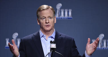 Jan 30, 2019; Atlanta, GA, USA; NFL commissioner Roger Goodell speaks at a press conference in advance of Super Bowl LIII at Georgia World Congress Center. Mandatory Credit: John David Mercer-USA TODAY Sports