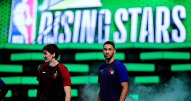 Feb 15, 2019; Charlotte, NC, USA; World Team forward Cedi Osman of the Cleveland Cavaliers and World Team guard Ben Simmons of the Philadelphia 76ers before the All-Star Rising Stars game at Spectrum Center. Mandatory Credit: Bob Donnan-USA TODAY Sports