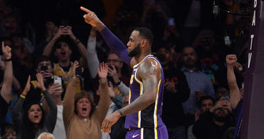 March 6, 2019; Los Angeles, CA, USA; Los Angeles Lakers forward LeBron James (23) reacts after scoring a basket against the Denver Nuggets during the first half at Staples Center. With the basket LeBron James passes Michael Jordan for fourth all time NBA