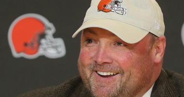 New Cleveland Browns head coach Freddie Kitchens was all smiles during a press conference on Monday, Jan. 14, 2019 at FirstEnergy Stadium in Cleveland, Ohio. (Photo by Phil Masturzo/Akron Beacon Journal/TNS/Sipa USA)